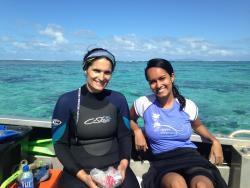 USP MSc student Ms Lisa Goberdhan with Sindia (left) near Votua Village, Viti Levu, Fiji