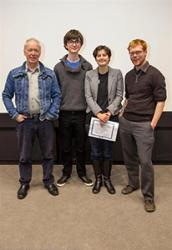 The Stand Up Competition Winner, Lauren Court-Dobson, with judges (L-R) Dyfan Roberts, Joshua Fenby-Taylor and Antony Butcher.