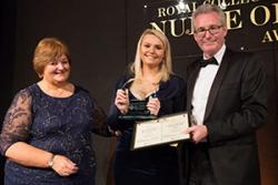Tina Donnelly, Director RCN Wales, Stephanie Morris and Stephen Griffiths, Director of Workforce, Education & Development Services, NHS Wales Shared Services Partnership (Award  Sponsor) at the Awards ceremony.