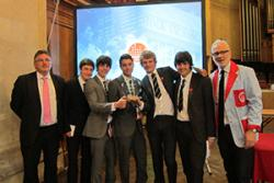 Stock Market Challenge Event Winners: Rydal Penrhos School (L-R): Michael Farnell (teacher), Dominic Hearth, Lewis Pullman, Mathan Al Hemyari, Harry Ormerod, Alex Farnell and Martin Barnes from Ten Lane Learning.