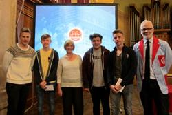 Stock Market Challenge Runners Up: Ysgol David Hughes (L-R): Glen Williams, Ianto Gruffydd, Sue Marshall (teacher), Rees Hope, Liam Aston and Martin Barnes from Ten Lane Learning (missing from photo: Joe Roberts)