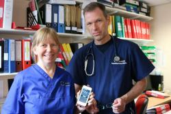 Clinical Research Specialist Nurse Wendy Scrase and Dr Chris Subbe who are part of a team carrying out the clinical study 'Keep Me Safe'.