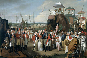 East India Company men at the surrender of Tipu Sultan in 1792: Robert Home [Public domain], via Wikimedia Commons