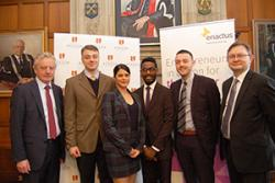 Vice- Chancellor Prof John G Hughes and Andrew Bacon, Chief Executive of Enactus UK with Bangor University's Enactus Committee members.