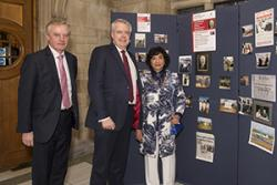 Professor John G Hughes, University Vice-Chancellor, with First Minister Carwyn Jones and Mrs Raj Parry Jones, widow of Dr Tom Parry Jones OBE.