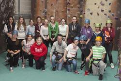 Members of Talysarn Youth Club, having tried out the climbing wall at the University's Sports Centre recently.