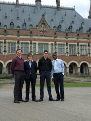The successful Bangor Telders Team outside The Hague. L-R: Cathal McCabe, Adam Gulliver, Andrew Jones and Damian Etone.