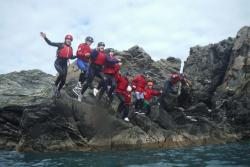 A group coasteering.: Image credit:Trys Burke