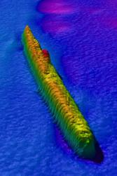 Image of the German U-87 submarine, lost after being rammed by HMS Buttercup on Boxing Day 1917 off Bardsey Island, Wales. All 43 crew members were lost.