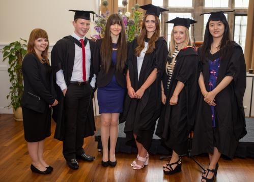 Six of the prize winners on Graduation day