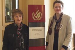 Carys Aaron (L) with Alison Mawhinney at the UN Conference.