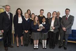 Professor John G Hughes, Vice-Chancellor (left) with staff and pupils of Ysgol Friars and Ysgol Cae Top, Dr Dusana Dorjee, Centre for Mindfulness Research and Practice and Huw Lewis AM
