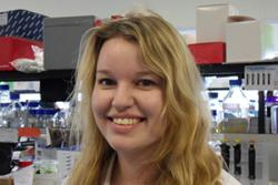 Victoria Hilditch in the Cancer Research Laboratory at Bangor University