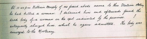 WH/39. Extract from the Journal of the Holyhead Police Station written on Christmas Night by Superintendent Prothero: Courtesy of Anglesey Archives.