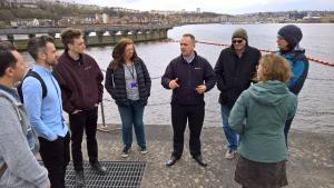 Workshop delegates enjoyed a tour of the Cardiff Harbour barrage and fish pass from AquaWales Cluster partner Cardiff Bay Harbour Authority