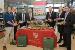 Dafydd Roberts, research technician, Biocomposites Centre, Derek Davies, Adare; Quentin Clark, Waitrose; Nick Laflin, Chief Technician, Biocomposites Centre; Professor John G. Hughes, Dr Adam Charlton, BioComposites Centre.