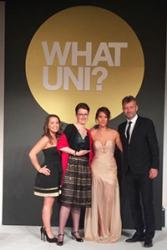 Bangor University's staff and student representatives receive their Whatuni Student Choice  Award.