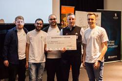 The winning team were: Tom Owen, SCSM; Loizos Vasileiou, Computer Science; Christos Tsangaris, Psychology;  ( with Nick McCavish, Operations Director, Zipworld;) Aaron Owen, Bangor Business School