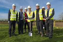 Professor John G Hughes, Ieuan Wyn Jones, Minister Ken Skates, and members of Willmott Dixon, who have just won the contract to construct the Science Park.