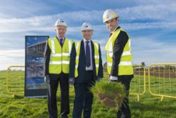 Prof  John G Hughes, University Vice-Chancellor and Ieuan Wyn Jones, Director of MSParc with Minister Ken Skates as he cuts the first turf at the Science Park site.