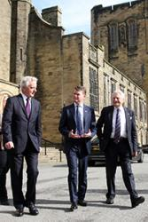 Ambassador Barzun as greeted by University Vice-Chancellor Professor John G Hughes and Lord Dafydd Elis-Thomas, the University's Chancellor.