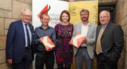 (L-R) - Lord Elis-Thomas (Welsh Govt), Lefi Gruffudd (Y Lolfa), Mari Fflur (Coleg Cymraeg Cenedlaethol), Prof. Pwyll ap Siôn and Wyn Thomas (School of Music and Media)