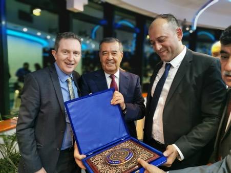 Professor Oliver Turnbull (Bangor University, Deputy Vice Chancellor), Bakhtiyar Khamidov (Uzbekistan Banking Association, Chairman) and Dr Jasur Salikhov (MDIS Tashkent, Rector).
