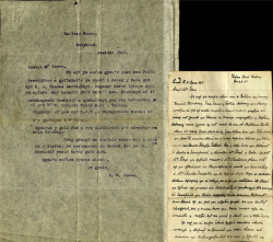 Accompanying letter: Accompanying letter dated 1921 by Mr R. W. Jones, noting some of the latest provenance of the book