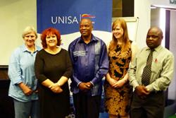 left to right: Prof Laurette Pretorius, Delyth Prys, Prof Lesiba Teffo, Dr Tegau Andrews, Prof Phalandwa Mulaudzi