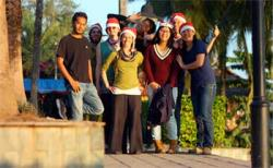 All the Christmas helpers, (from left to right) Sreekar, Sam, Faith, Sophie, Aki, Pepsi, Kyle, and Jessie.