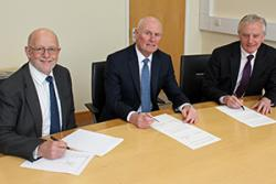Left-right: Professor Upton, Interim Vice-Chancellor at Wrexham Glyndŵr University; Grŵp Llandrillo Menai CEO Glyn Jones, and Bangor University Vice-Chancellor, Professor John G Hughes.