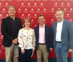 Prof Jerry Hunter, Dr Lowri Hughes, Rt Hon Alun Cairns MP and Prof Gerwyn Wiliams