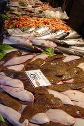 A traditional fish market stall.