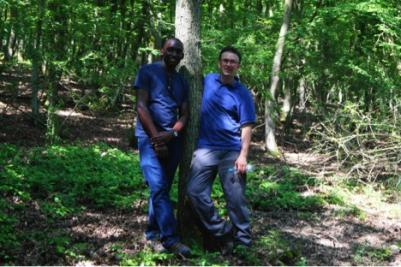 Matia Agaba on the left (MSc Tropical Forestry) and Chris Bates on the right (MSc Forestry) in the forest collecting data during the Training School in Boppard, Germany. Credit: Matia Agaba, July 2016.