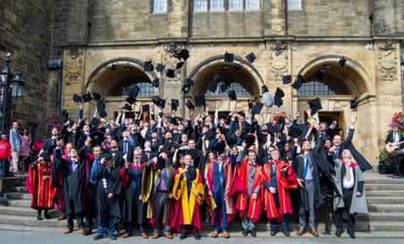 """Computer Science and Electronic Engineering graduates of 2019""  Photo by Cameron Gray, © Bangor University"