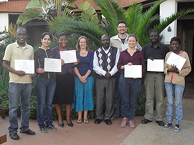 Course participants pictured with their certificates (from l-r: Frank Musa, Ayda Rostami Jalilian, Grace Mutali, Genevieve Lamond, Sileshi Weldesemayat, Nicholas Wightman, Eefke Mollee, Wezzie Chisenga and Chisomo Gunda). Three participants were awarded t