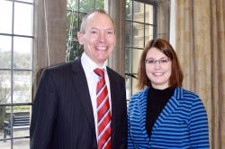 John Griffiths, Minister for Culture and Sport, Katharina Moeller, Research Support Officer on the project Co-Production of alternative views of lost heritage at Bangor University.