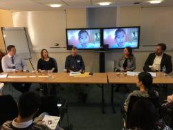 Alumni panel - L-R: Ross Starkie, Oana Lazar, Mr David James (panel chair), Tan Bich Ngoc (via Skype), Fiona Anderson, Dr Edward Jones