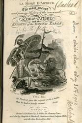Wynebddarlun o gopi o La Mort D'Arthur a gyhoeddwyd yn 1816.