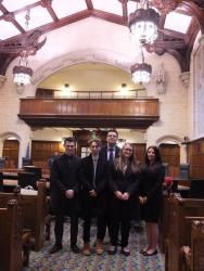 The students with Stephen Clear (centre) inside the Supreme Court