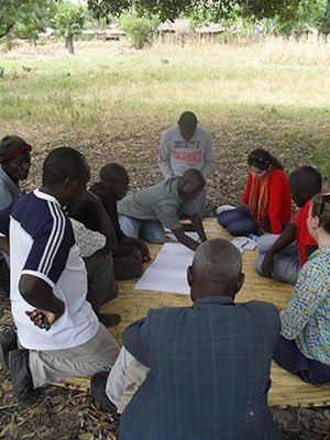 Resource mapping with a group of male farmers in Chafwala village, Linthipe EPA.