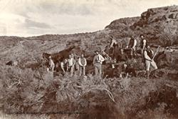 Building a road to Cwm Hyfryd c1888. In the middle, wearing a white coat, stands Llwyd ap Iwan, son of Michael D Jones, who was murdered in 1909, by bandits.