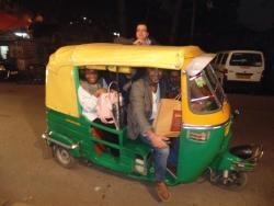 The team enjoying a tuctuc ride around Delhi