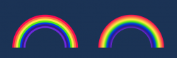 A picture from one of the activities, to create animated rainbows using only HTML and CSS.