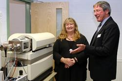 Andy Beggin, Chief Executive of Suprex showed the Minister some of the  facility's high-tech equipment.