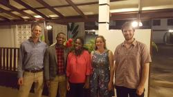 James Walmsley, Emil Amoah (MSc Environmental Forestry 2016), Cecilia Kwateng Yeboah (MSc Sustainable Tropical Forestry 2015), Genevieve Lamond, and James Brockington at the event held on 1st July in Accra, Ghana.