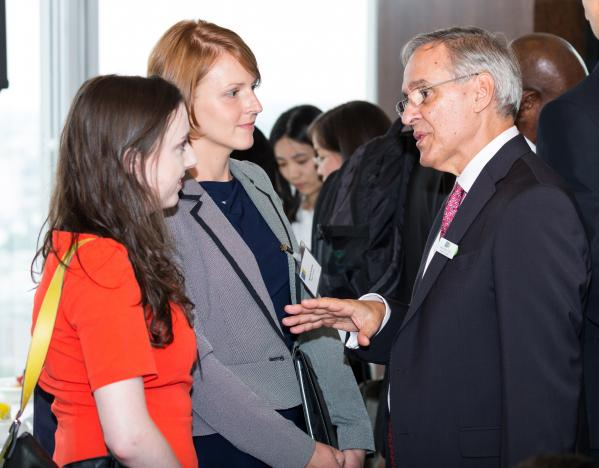 Elin and Agnieszka talking with Philip Sourry, Non-executive Director of the Salvation Army