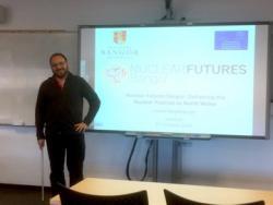 Dr. Simon Middleburgh presenting his seminar on Nuclear Futures Bangor