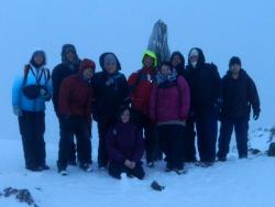The Warden team reached the snow-capped summit of Snowdon just five minutes before sunrise